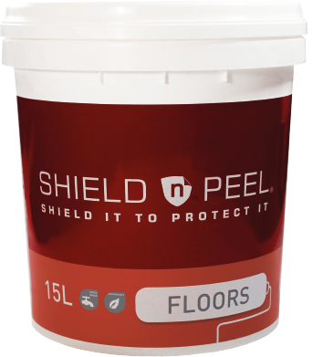 SHIELD n PEEL FLOORS delivers a temporary surface protection for floors. It protects floors from build up of inks, spray-track adhesives, paint