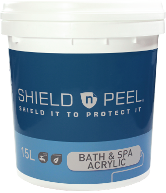 SHIELD n PEEL BATH & SPA ACRYLIC virtually eliminates tub repairs and reduces clean up costs. It's a water-based peelable coating.